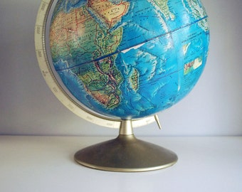 1960s Blue Globe, Rand McNally World Portrait Globe, 12 inch Earth, Geography School, Educational Toy, Mid Century Office Decor, Desktop Map
