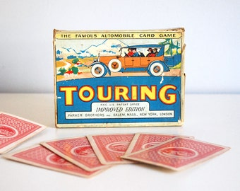 1926 Touring Card Game Parker Brothers Antique Toy 1920s Automobile Travel Cardboard Box Retro Collectible Ephemera Vintage Playing Card