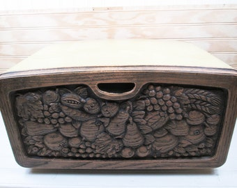 Vintage Metal Bread Box Burlington Crafts Fruit Faux Bois Plastic Harvest Gold Retro