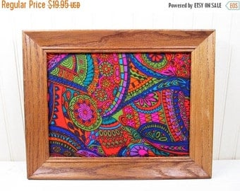 ON SALE Vintage Framed Fabric Wall Hanging Art Psychedelic Retro Hippie 60s