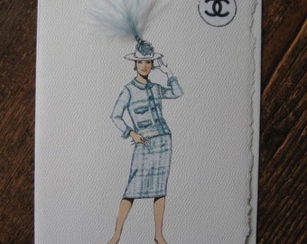 """Coco Chanel Fashion Illustration  1964""""Nubby wool suit with straw hat"""" note card"""