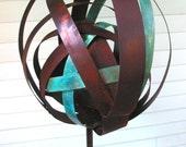 Sculptural Steel & Copper Bird Feeder N0. 331 Freestanding spherical modern bird feeder globe