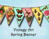 Vintage Spring Flags Bunting Banner Pennants -Instant Download -Printable digital collage sheet JPG Digital File-BuY OnE GeT OnE FREE