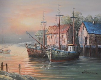 Boats At Harbor Scene Lithograph On Mat Board By Campri Titled
