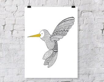 Doodle Hummingbird – Nursery Art Print