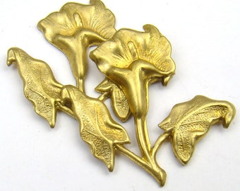 2 pcs brass calla lily stampings, vintage with leaves 30mm, 2 pcs