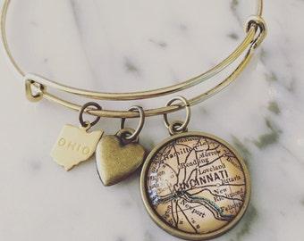 Cincinnati Map Charm Bangle Bracelet - Personalized Map Jewelry - Stacked Bangle - Ohio - Bridesmaid Gift - OTR - Hyde Park - Mason