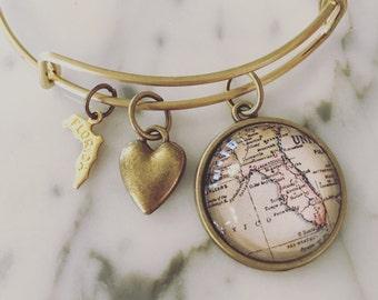 Florida Map Charm Bangle Bracelet - Personalized Map Jewelry - Sunshine State - Tampa - Miami - Jacksonville - Daytona - Orlando - Sarasota