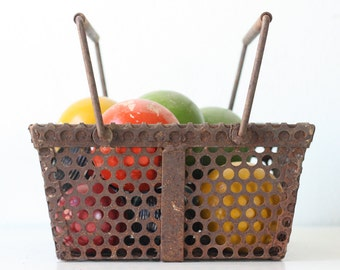 Vintage Industrial Basket, Perforated Metal Bin
