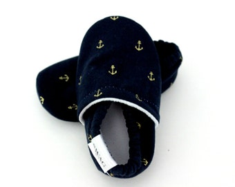 Anchors baby shoes nautical kids gold navy anchors non slip on shoes gender neutral boy girl Infant Soft Soled Shoes Baby Booties gift SWAG