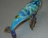 Lampwork Boro Glass Pendant - Focal Bead - HUMPBACK WHALE turquoise blue