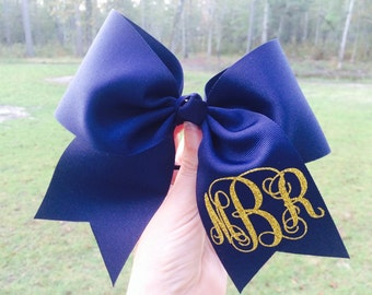 Special order for Nikki Monogrammed Cheer Bow - Large M2M with 3 Inch Ribbon personalized Cheer Bow Breast Cancer Awareness Cheer Bow