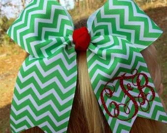 Monogram Christmas Hair Bow Chevron Christmas Hair Bow Holiday Special