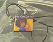 African American Woman Necklace EMPOWERMENT Afro Black Resin
