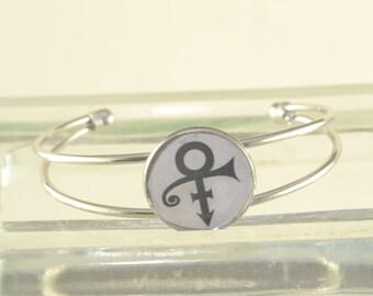 PRINCE Name Symbol Bracelet Bangle One Size Fits Most Silver  LOVE SYMBOL