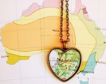 Adelaide map heart-shaped pendant necklace