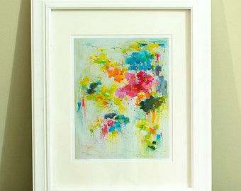 Prints, Abstract Painting, original print, Fine Art Print , Matted Giclee Print , Wall Art Wall Décor ,Flower on wall Print abstract garden