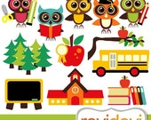 60% OFF SALE Clipart Owl School 07420