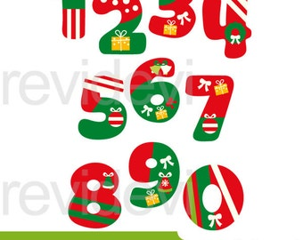 Christmas numbers clip art - christmas clipart, digital images, red green xmas design - commercial use, instant download