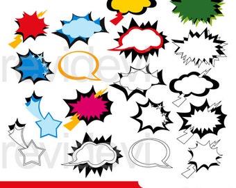 Superhero bubbles clipart - superhero comic talk bubble - digital clipart - instant download