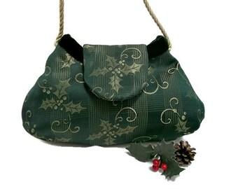 Holly Print Christmas Purse , Forest Green Evening Bag , Women's Handmade Handbag , Christmas Purse