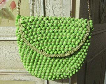 Vintage 1960s Beaded Lime Green Handbag Purse by Delill Handmade in Italy