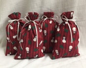 Christmas Gift Bags - 4 Snowman -  Reusable Eco-Friendly Cotton Fabric