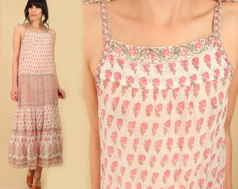 ViNtAgE 70's Indian Gauze Cotton Maxi Sun Dress  Pink India Gypsy Festival Dress // BoHo HiPPiE s/m