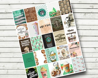 Starbucks Themed Planner Printables - DIY Print at Home - Coffee Planner Printable Sticker Sheet - Fits Erin Condren Life Planner - Latte