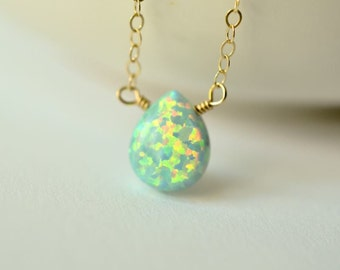 Simulated seafoam opal solitaire necklace 14kt rose gold-filled green stone necklace multi-colored necklace Kahili Creations made in Hawaii