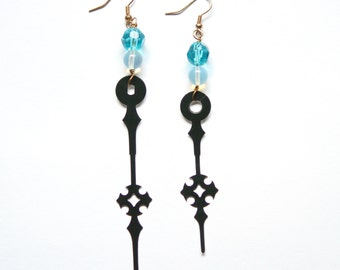 Boho Steampunk Clock Hand Earrings - Opalite Waters