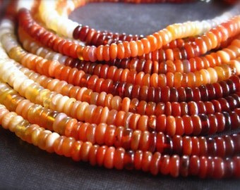 Mexican Fire Opal - 6 1/2 inches of semiprecious stone rondelles - smooth polished - 3.5mm X 2mm