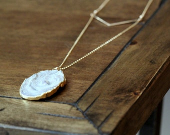 Long Layering Necklace , Gold Druzy Agate Slice , Gray White Marble , Hammered Chevron Bohemian Fashion - Dune