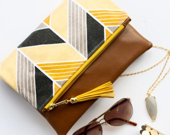 Boho Tassel Clutch in Yellow and Gray Herringbone Chevron with Tan Vegan Leather and Yellow and Gold zipper close