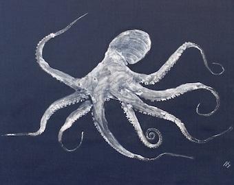 ORIGINAL Octopus GYOTAKU Art  Nature Rubbing on rich Navy Cloth Ocean Beach Decor by Barry Singer