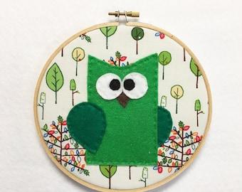 Owl Wall Art, Wall Hanging, Fabric Wall Decor, Timothy the Owl, Felt Animals, Woodland Decor, Kids Gift under 20