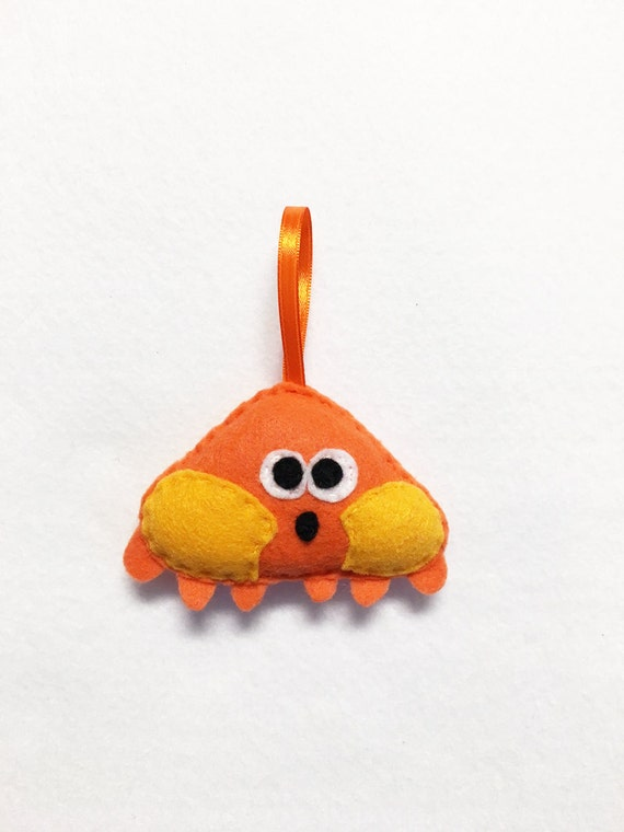 Crab Ornament, Christmas Ornament, Sandy the Crab, Felt Ornament, Sea Life, Beach Decoration