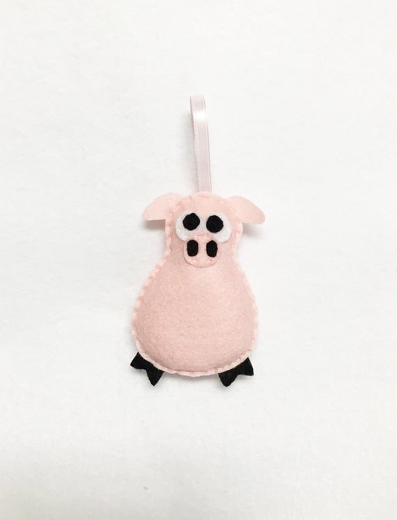Pig Ornament, Christmas Ornament, Cheryl the Pig - Made to Order, Farm Animal, Felt Ornament, Gifts for Kids, Stocking Stuffer