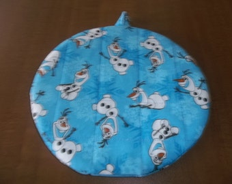 Olaf, Quilted Pot Holders, Potholders, Hot Pads, Olaf Potholder, Frozen, Handmade, Double Insulated, Trivet, 9 Inches, Hostess Gift