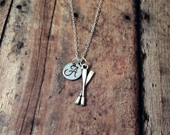 Oars initial necklace - oars charm necklace, gift for rower, rowing crew necklace, oars necklace, rowing necklace, rowing jewelry