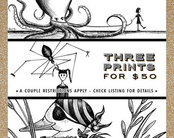THREE PRINTS for 50 / Choice of Print set!