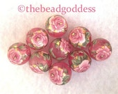 ROMANTIC LOVELY Wholesale Lot Pink Rose Pink Frost Tensha Beads 12mm-9 Pieces