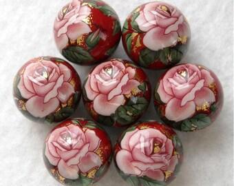 LARGE Lovely JAPANESE TENSHA Bead Single Pink Rose Ruby 16mm