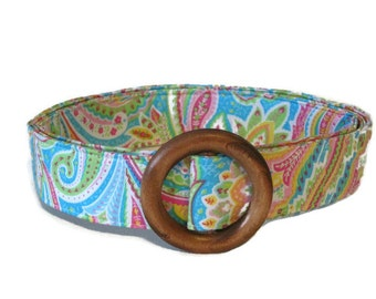 Aqua Paisley Fabric Belt  / Preppy Ribbon Belt / Wide or Waist Belt / Women's Belt - Aqua Paisley in blue XS to Plus Size