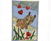 Handmade Fabric Greeting Card Blank With Envelope Modern Rustic Folk Art Puppy Dog Red Hearts Love OOAK