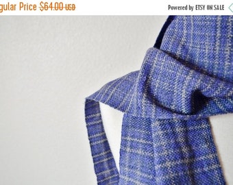 Prefall Sale Women's Woven Scarf - Handwoven Fall Fashion in Purple and Grey Faux Plaid Pattern. Fringey Scarf, Traditional Scarf.