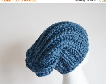 Sale Chunky Knit Hat in Denim Blue - Navigator Hat - Hand Knit Hat For Men or Women
