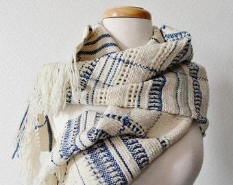 Sale Blanket Scarf Hand Woven Winter Tribal Bohemian Scarf - Texture, Lace Detail, Blue and White, Woven Women's Fashion, X Large Handmade S
