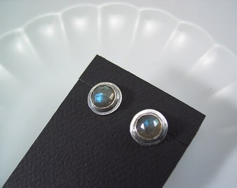 Rose cut Labradorite Sterling Silver Studs, Post Earrings, Labradorite Earrings, Gemstone, Natural Jewelry