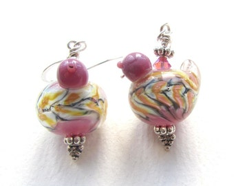 Purple and Yellow Bird Earrings with Handmade Lampwork Glass Beads
